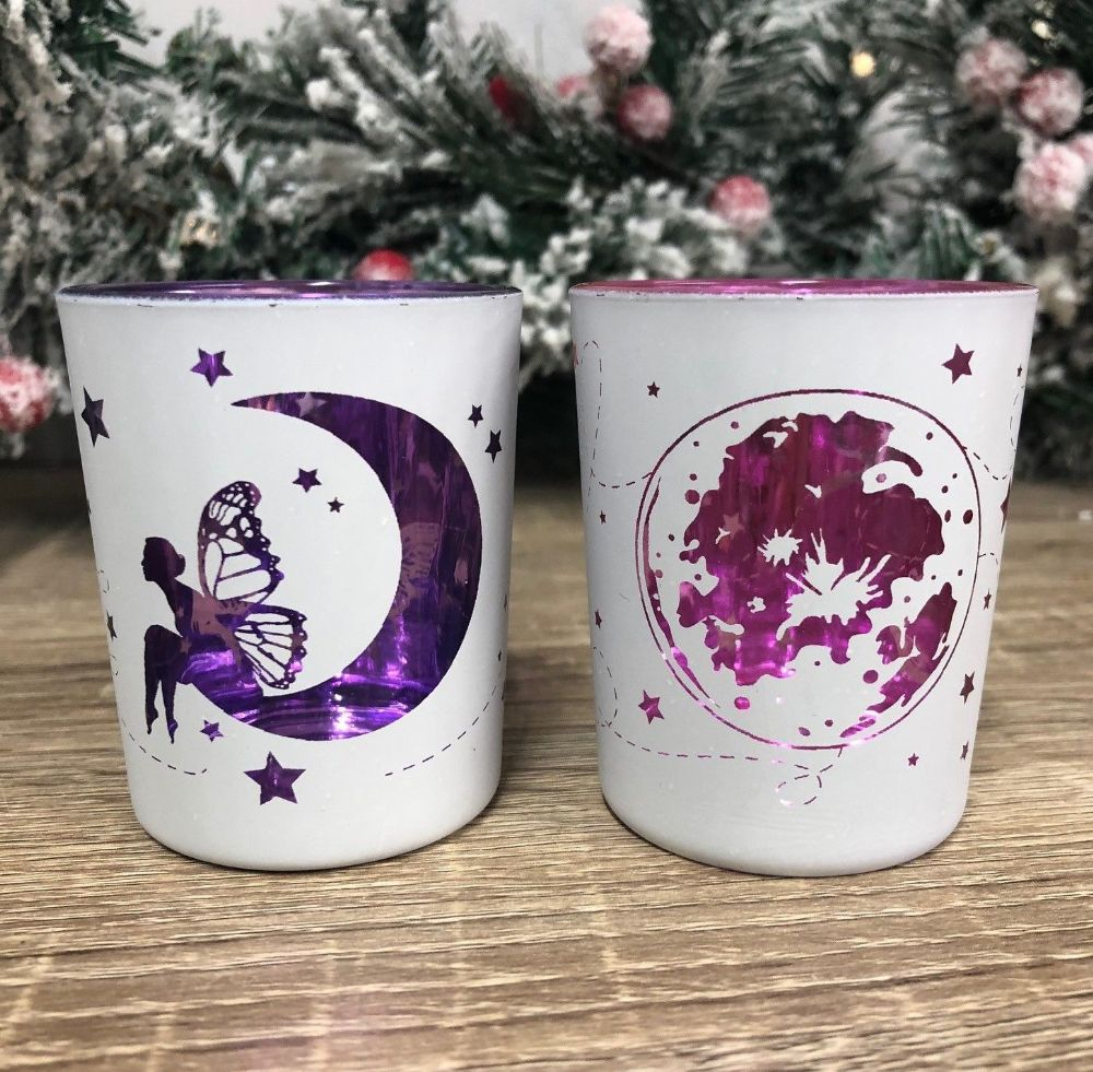 Fairy Moon Tea Light Candle Holder Pink | Purple Set of 2